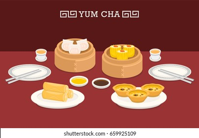 illustration vector of Chinese food spring roll plate , dim sum, egg tart on table with tea and plate and chopsticks.Dinner menu set at Chinese restaurant.