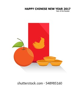 Illustration vector Chinese New Year decoration set of orange fruit and red envelope with gold piece.