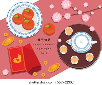 Illustration vector Chinese New Year decoration on table set of oranges fruit ,couple red envelope with China gold piece and cup of tea and teapot set on Happy Chinese New Year theme.