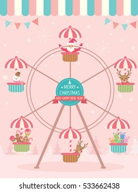 Illustration Vector of  Christmas ornaments sitting on the ferris wheel for Christmas and new year night party.Pink background.