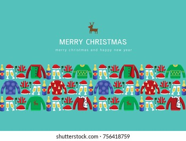 Illustration vector Christmas ugly sweater party as concept.