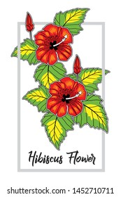 illustration vector clip art, Hibiscus flower