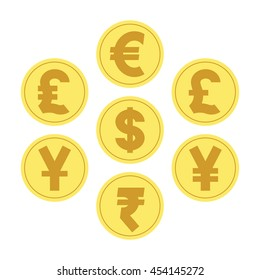 illustration vector. coins for currency exchange rates. Finance Concept.