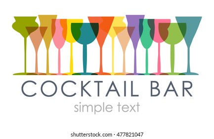 Illustration vector colored glasses and champagne glasses. For decoration, web, advertising bars, restorani, alcohol or beverages