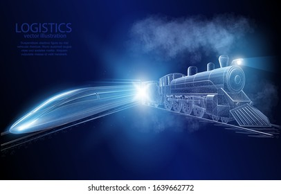 Illustration vector concept 3D vintage and modern train, on a dark blue background a symbol of the evolution of railway transport and logistics.