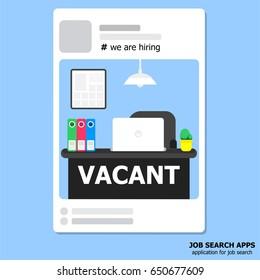 illustration vector concept of job search application.Cartoon flat design.
