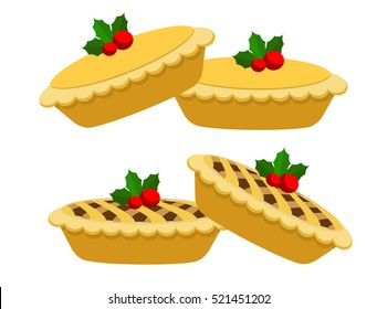 Illustration vector of couple mince pies on Christmas theme.