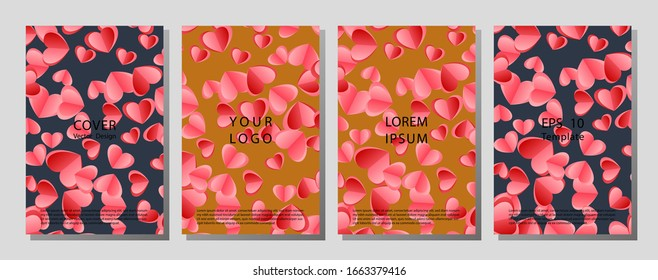 Illustration vector of cover books design with pattern set. Template cover of a copybook with an trendy design: colorful hearts pattern. Brochures design for promo flyers or covers in A4 format size.