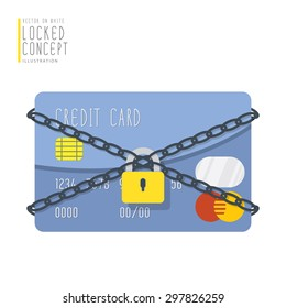 Illustration vector credit card are bound with chains and locked with a padlock flat style.