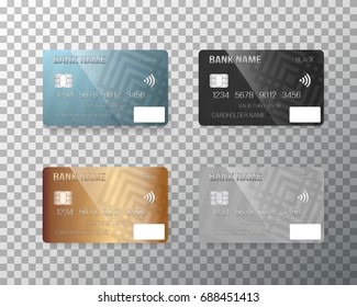 Illustration of Vector Credit Card Set. Realistic Bank Cards Isolated on Transparent Background