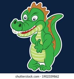 Illustration vector cute alligator cartoon with background