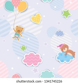Illustration vector of cute bear with balloon and clouds design to seamless pattern