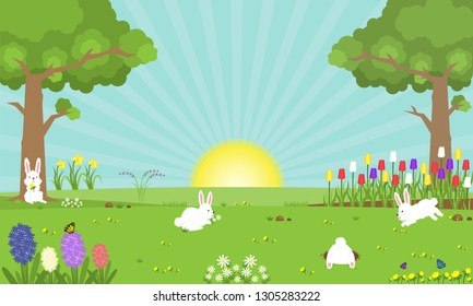 Illustration vector cute cartoon landscape scene of rabbits on green grass on spring season as Easter day concept