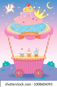 Illustration vector of cute cupcake cart for party with unicorn on fantasy background