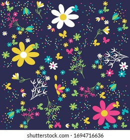 illustration vector cute  flowers pattern
