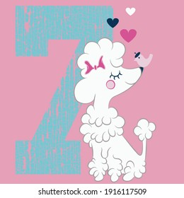 Illustration vector cute poodle puppy with text and background for fashion design