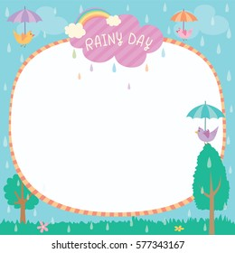 Illustration vector of cute rainy day background template decorated with birds hold umbrella and rainbow.Blank for space.