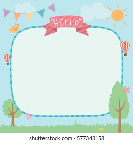 Illustration vector of cute summer background template decorated with ribbon and buntings.Blank for space.