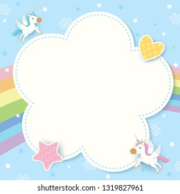 Illustration vector of cute unicorn decorated with rainbow and blue pastel sky background design with cloud frame