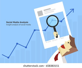 illustration vector of data analysis of fan page insight on social media feedback.