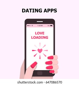 illustration vector of dating application on mobile phone  as concept