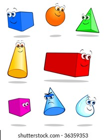 Illustration vector depicting colorful geometric solids with cheerful faces funny