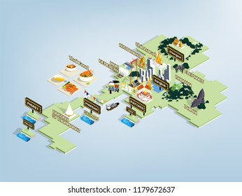 illustration vector design concept of most attractive place in Thailand, Thailand travel map design concept