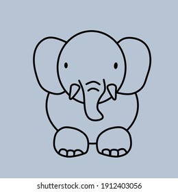Illustration vector design of elephant in simple line. Design for coloring book, logo, graphic resources.