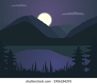 illustration vector design of landscape of mountain and lake