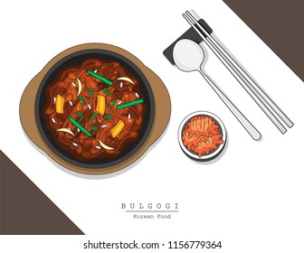 illustration vector of design logo doodle hand drawing popular Asian Korean cuisine Bulgogi and Kimchi with chopsticks isolated on plate on table top view on background with Korea flag and dish name