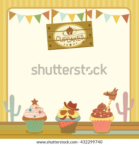 illustration vector dessert menu template cupcakes stock vector