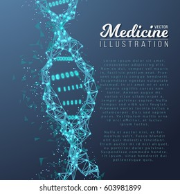 Illustration of Vector DNA Spiral. Abstract Medical Molecule Structure. Future Medicine Technology Human Genome Scientific Concept