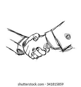 illustration vector doodle hand drawn sketch of handshake between businessman, partnership concept