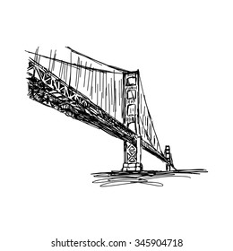 illustration vector doodle hand drawn of sketch San francisco bridge, usa, isolated on white