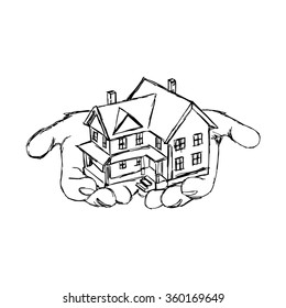 illustration vector doodle hand drawn of sketch hand holding house