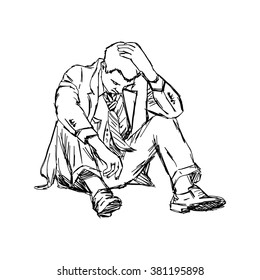 illustration vector doodle hand drawn of sketch frustrated businessman sit on ground isolated.