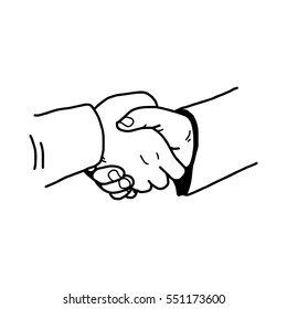 illustration vector doodle hand drawn of handshake between businessman, partnership concept