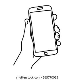 Illustrationsvektordoodle handgezeichnete Skizze von der linken Hand des Menschen mit oder hält ein großes Smartphone einzeln