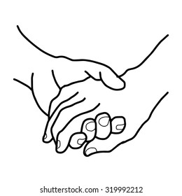 illustration vector doodles hand drawn female and a male person holding hands