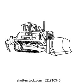 Illustration Vector Doodles Hand Drawn Loader Bulldozer Excavator Machine Isolated