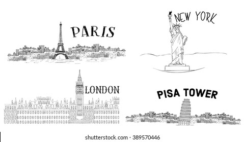 illustration vector drawing silhouette paris and london and pisa tower and new york city