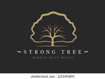 Illustration vector element of a tree in a modern style mono line. Golden print on a black background. Decorative wood template for unique design, logos, signage, posters. Concept for organic shop.