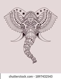 Illustration vector elephant head with mandala style