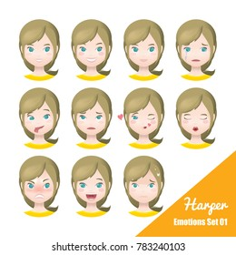 Illustration Vector Emotions facial set of female with different expressions.