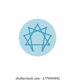Illustration  vector enneagram icon, symbol