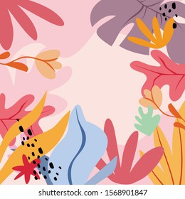 Illustration vector EPS print abstract modern art flowers tropical design style for fashion or interior or cover or textile or background or packaging or pattern or decorations or other