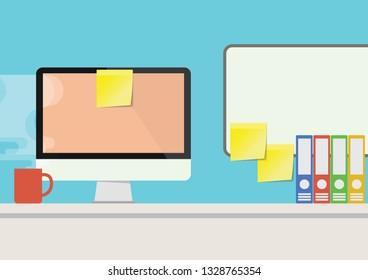 Illustration Vector EPS10:  Desktop flat lay design, red mug, sticky notes, and files