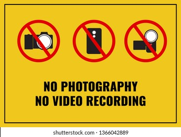 Illustration Vector EPS10: No photography and no video recording sign