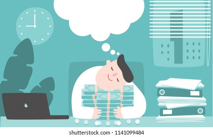 Illustration vector flat cartoon of asian businessman working at office on desk in room. Man sleeping and dreaming on table. Hugging money and thinking about tax refund,reward ,income or investment