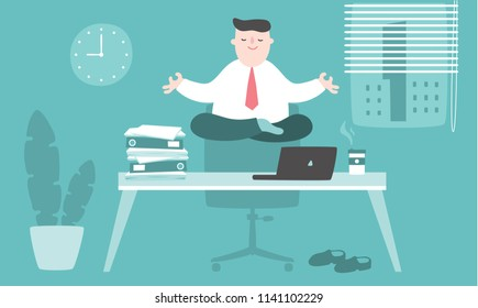 Illustration vector flat cartoon of asian businessman working at office on desk in room. Man using zen activity of Japanese. Meditation at work for control mind and good performance management